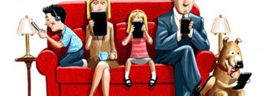 Familia adicta al teléfono móvil